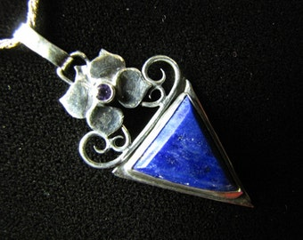Sterling Silver Brutalist Lapis and Amethyst Flower Pendant