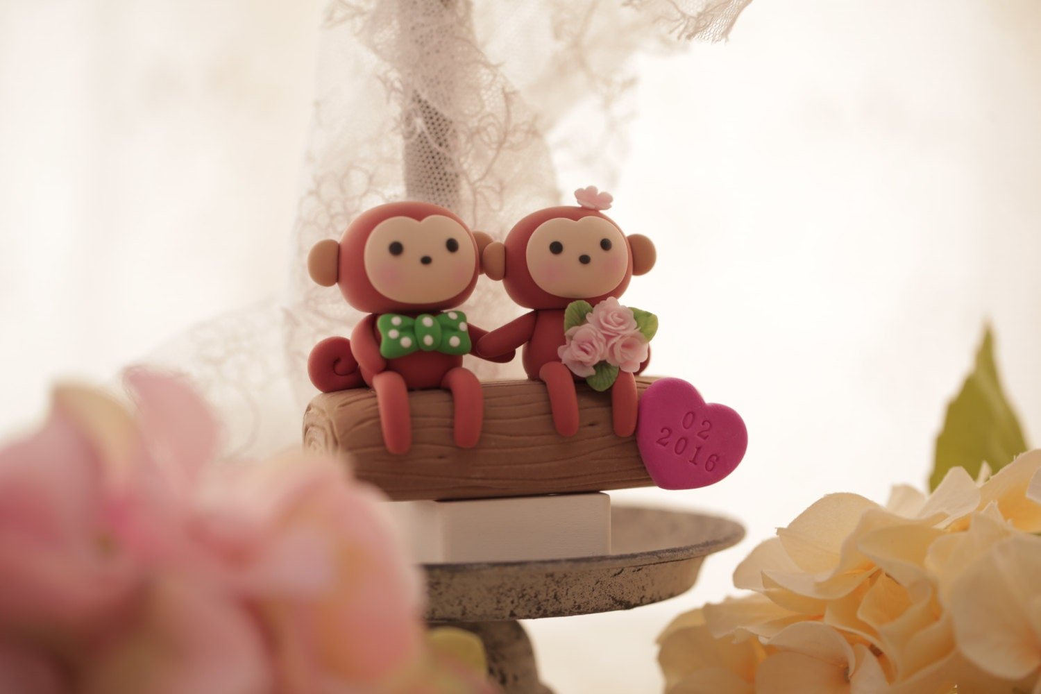 Monkey And Bunny Cake Topper