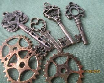 Bronze Keys and Gear Works  4 Keys  3 Gear Works  Steampunk  #K2315