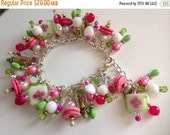 Memorial Day THANKS Sale CLEARANCE - Handmade Fuchsia, Green and White Freshwater Pearl and Shell Charm Bracelet