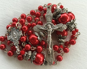Handmade Red Pearl Catholic Rosary, Custom Rosaries, Pearl Rosary, Catholic Rosary, Made to Order Rosary, One of a Kind