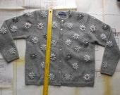 Soft Light Gray Cardigan Sweater with Wool Embroidered Flowers for Felting and Upcycling, Shell Buttons, Felting Supplies, Felted flowers