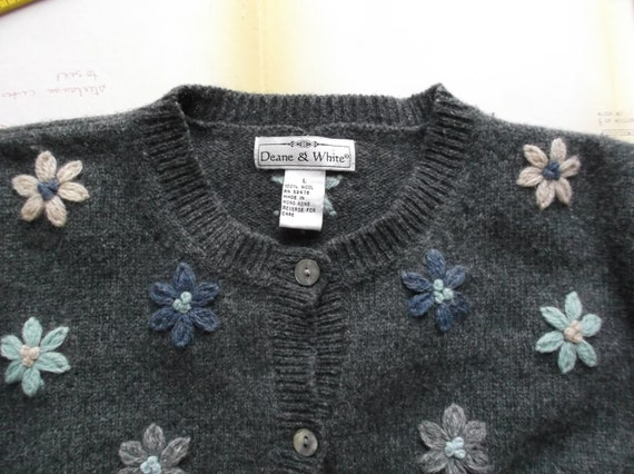 Charcoal Gray Cardigan Sweater With Wool Embroidered
