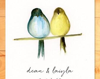 Watercolor Print, Personalized Art Print, Wedding, Gift, Love, Birds, Custom Print, Painting
