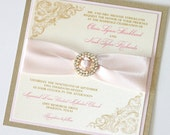 Olivia Couture Crystal Buckle Wedding Invitation - Vintage Wedding Invitation - Custom Wedding Stationery - Blush Pink, Ivory and Gold Leaf