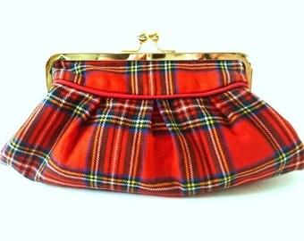 red plaid clutch, rare 70's vintage Royal Stewart wool, tartan plaid purse, evening bag, Christmas wedding purse, plaid wallet, makeup bag