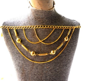 Egyptian revival vintage 80s yellow shade, gold tone metal, drapery  , multichain , adjustable, belt-necklace.