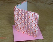Blank Mini Card Set of 10, XO Valentine Design with Contrasting Stripe on the Inside, Metallic Pink Envelopes, mad4plaid