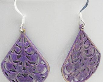 Lacy Purple Earrings, Patina Earrings, Filigree Eggplant Earrings, Lavender Earrings, Boho Earrings, Bohemian Jewelry, Casual Earrings
