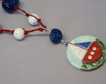 Handmade Ceramic Ship Pendant, Sailor Necklace, Boat Necklace, Sail boat Jewelry, Nautical Necklace, Red White Blue Necklace, Birthday Gift
