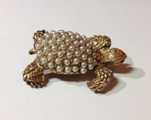 Vintage Turtle Brooch with Pearls and Red Eyes
