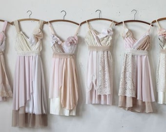Custom Bridesmaids Dresses in Pale Pinks and Neutrals