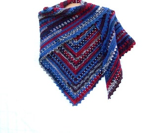 Crochet Triangle Scarf - Boho Shawl - Tribal Shoulder Warmer - Southwest Shawlette - Color Navajo Blue - Alpaca Wrap