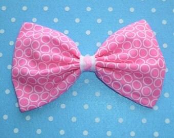 Large Pink Circle Hair Bow Clip
