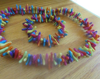 coral necklace rainbow