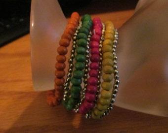 stretchy colorful beaded bracelet
