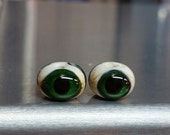 Sparkly Green Three Sided Eyeball Lampwork Glass Beads