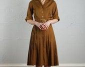 ON SALE Vintage Shirtwaist Dress . Rich Brown