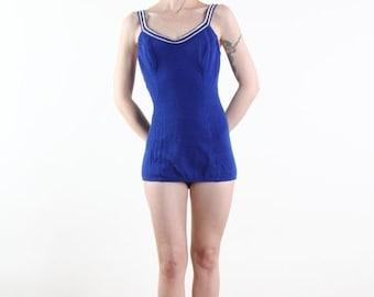 ON SALE 1960s Swim Suit .  Blue Knit One Piece . BEACH Wear
