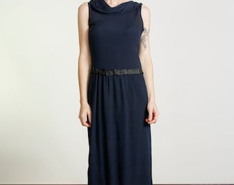 ON SALE 1930s Navy Dress with Scalloped Hem