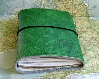 bucket list journal with maps as a travel journal - green