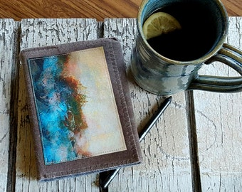 SALE after the storm journal -  waxed canvas travel journal by tremundo with original art cover