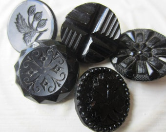 Vintage Buttons - lot of 5 jet black, pressed assorted designs Victorian (lot sept  311)