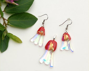 Fused dichroic glass pendant and earring set in transparent dichroic and red, free form, jellies