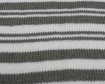 Baby Blanket, White, Gray, Striped Baby Blanket, FREE SHIPPING, Handknitted by hipknitta