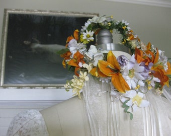 Reserved for Nikki One of Kind Floral Wreath with ribbon streamers and hand painted butterfly BOHO hippie wreath