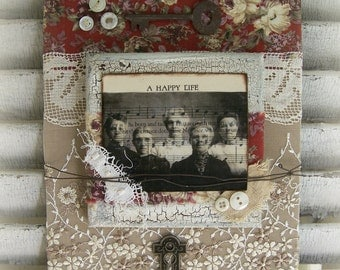 Original Mixed Media Vintage Collage Altered Art Friend Theme Vintage Lace Key Antique Found Object Assemblage OOAK QueenBe