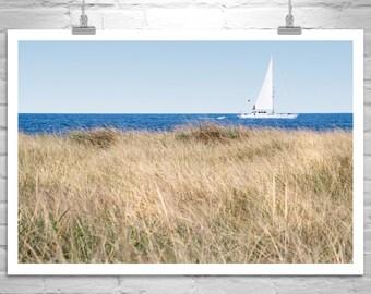 Rhode Island, Sailboat Photograph, Sailing Art, Nautical Art, Sea Grass, Block Island Print, Ocean Photograph, Boats, Ships, Black and White