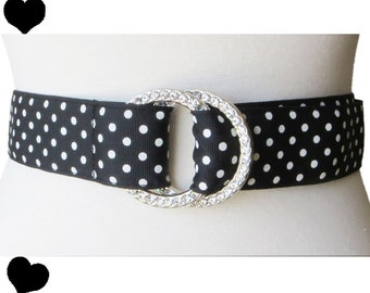 Vintage 80s Belt / Black White Belt / Polka Dot Belt / 1980s Dot Belt / Vintage 1980s Belt / Rhinestone Buckle / Rockabilly Pinup Belt