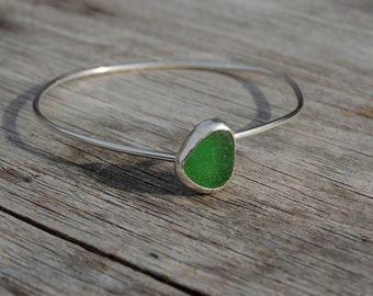 green seaglass bangle bracelet