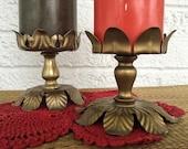 Vintage 1960s70s Set of 2 Brass Pillar Candle Holders   Large Wide Base Candlestick Shrine Altar Boho Bohemian   vtg DECOR   FOUND by LB