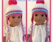 Doll Clothes Made To Fit American Girl, Simply Adorable Pigtail Earflap Hat,  White Multi Color