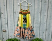 Med. Beaded Boho Festival Dress// Turquoise Lime// Upcycled// Tank Top Dress// emmevielle