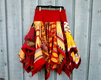 XL Red Yellow Bohemian Gypsy Pixie Fairy Reconstructed Skirt// Upcycled// emmevielle