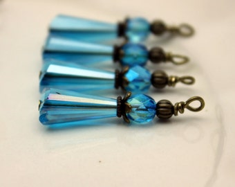 Vintage Style Aqua Blue Teardrop and Aqua Blue Czech Crystal with Brass Bead Dangle Charm Drop Set