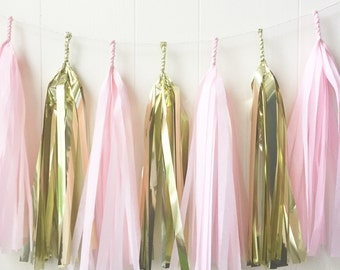 Pink and Gold Tassel Garland - Wedding Decor - Girls Room decor - Nursery Decor - Photo Prop - Garland