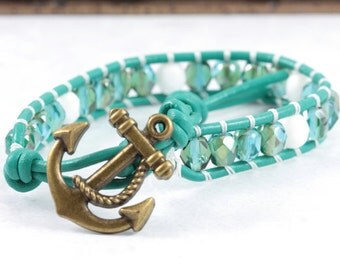 Jade Green Bracelet / Anchor Jewelry / Sea Nautical / Summer Fashion / Sailor Jewelry / Leather Wrap / Adjustable Bracelet Vacation Jewelry