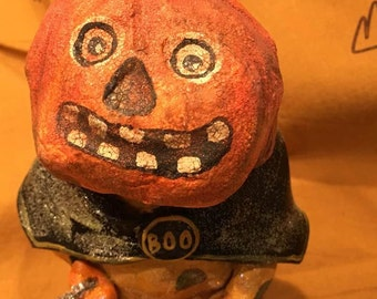 Halloween Clay Pumpkin figure statue Jack O Lantern witch cat boo tinsel  handmade  decorations holiday Fall Autumn decor  OOAK