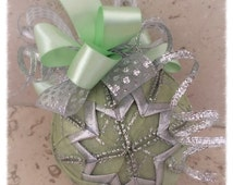 Evergreen Frost quilted ribbon ornament ball