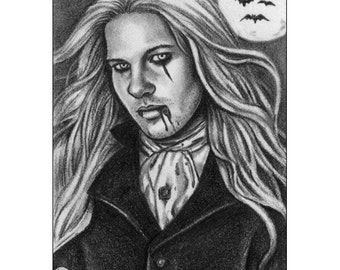 Eternity Limited Edition ACEO Print Male Vampire Gothic Fantasy Art Georgian Cravat Black and White Night Bats Moon Artist Trading Cards ATC