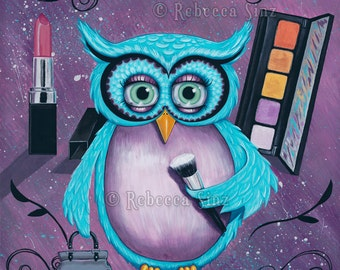 Glam OWL PRINT Whimsical Owl Cute Makeup Lovers Lipstick Eyeshadow Purse Beauty Glamour Bright Colors 3 SIZES