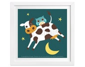 51 Cow Print - Owl and Cow Jumping over the Moon Wall Art - Owl Print - Farm Art - Woodland Nursery Wall Art - Animal Art - Art for Children