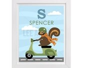 70P Squirrel Print - Personalized Letter S Squirrel on Vespa Scooter Wall Art - Vespa Print - Squirrel Wall Art - Custom Gift - Vespa Art