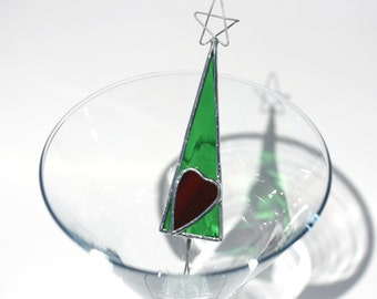 Green Christmas Tree with Red Heart stained glass Christmas tree ornament