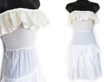 Vintage 70s White Tube Top with Ruffles Strapless Dress XS S