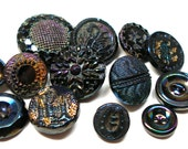 13 Antique glass BUTTONS, Carnival luster on Victorian black glass with rainbow luster. Shabby chic.